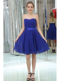 Strapless Sweetheart Simple Blue Chiffon Homecoming Dresses   S1958