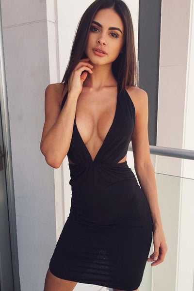 Sheath Deep V-Neck Above-Knee Cut Out Black Stretch Satin Homecoming Dress S1960
