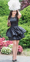 O Neck Tiered Black  Mini  Homecoming Dress   S1965