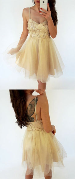 Short Backless  Homecoming Dress with Appliques S1971