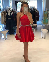 Crisscross Satin Red Homecoming Dress with Beading Belt  S1973