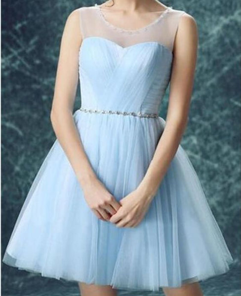 Light Blue Illusion Tulle Cute homecoming  dresses  S1984