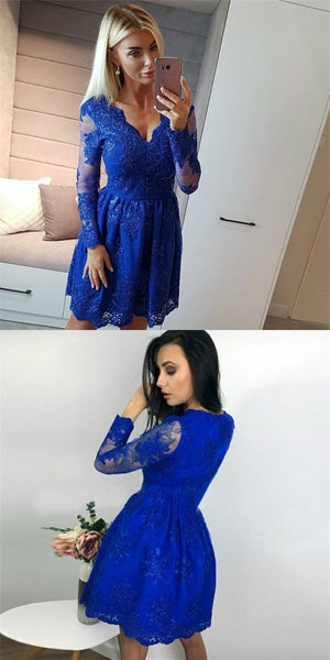 Pretty V-Neck Long Sleeves Royal Blue Short Cheap Homecoming Dresses with Applique  S1992