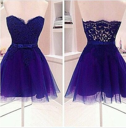 Royal Blue A Line Short Homecoming  Dress,Sweetheart Neck Lace Homecoming  Dresses   S1996