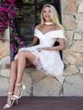 Classy Satin Top Off Shoulder Short Tulle Homecoming Dresses, Homecoming Dresses With Lace  S2004
