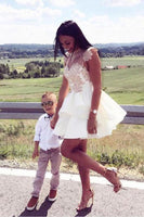 White Homecoming Dress, Short Homecoming Dress, A-Line Homecoming Dress, Homecoming Dress With Appliques S2007