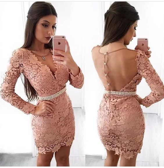 Sheath V-Neck Long Sleeves Blush Lace Homecoming Dress with Pearls S2012