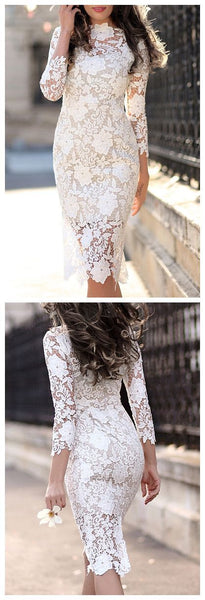 Lace 3/4 Sleeve  Homecoming  Dresses,Pretty Short   Lace Homecoming Dress  S2013