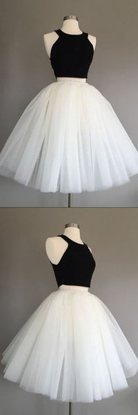 Ivory Tulle Halter Knee-Length Two Piece Sleeveless Homecoming Dress S202