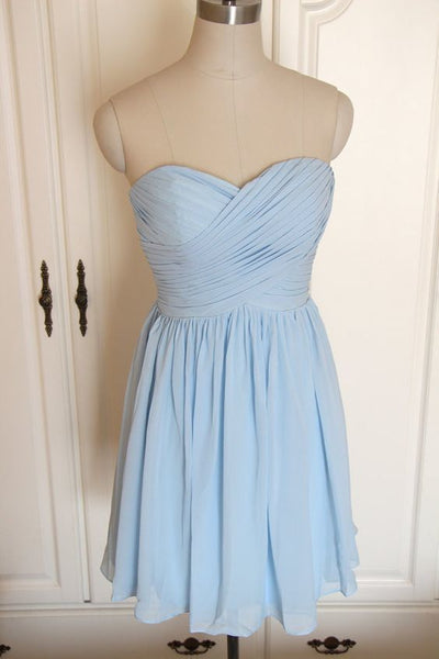 Sky Blue Chiffon Sweetheart Knee Length Homecoming Dress  S2025