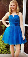 Romantic A-Line Homecoming Dresses V-Neck Short Handmade Flowers Princess Sequined   S2026