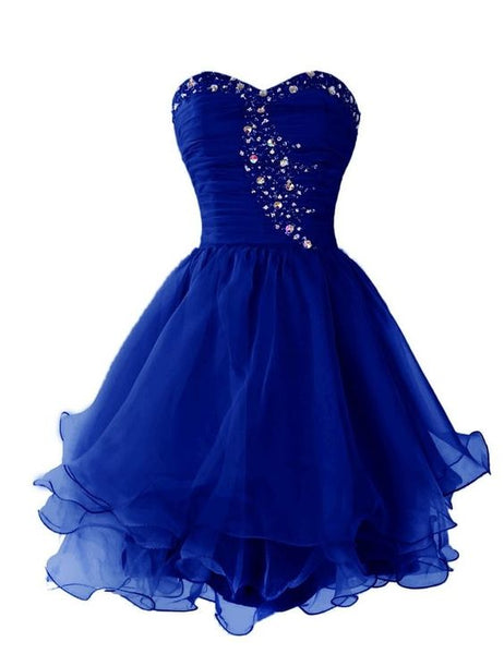 Royal Blue Beading Sweetheart Short Homecoming  Dress With Ruffles  S2028