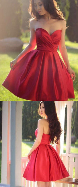 Fancy Sweetheart Red Satin A Line Short Evening Party Dresses Backless Homecoming Dress S203