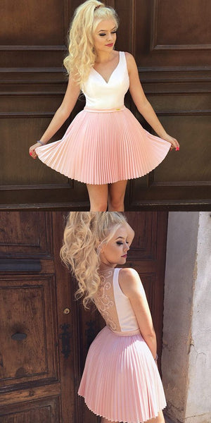 Newest V-Neck Pink Pleats Appliques Back Short Homecoming Dresses  S207