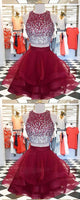 Burgundy Tulle Two Pieces Short Homecoming Dress With Sequins  S208