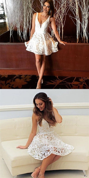 Sexy A-Line Spaghetti Strap V-Neck Short White Lace Homecoming Dresses S214