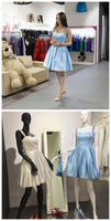 Homecoming Dresses ,Straps Sky Blue Short Homecoming Dress With Beads  S218