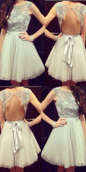Open Back Homecoming Dress, Grey Homecoming Dress  S217