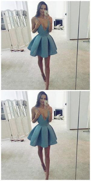 A-Line Deep V-Neck Sleeveless blue Satin Short Prom Dress  S219