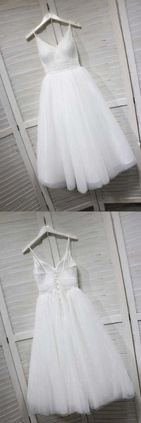 A-Line Spaghetti Straps White Homecoming/Prom Dress with Tulle   S221