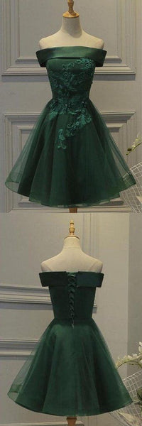 Dark Green Tulle Off Shoulder A Line Homecoming Dress with Appliques   S222
