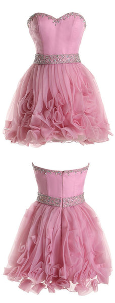 Exquisite Sweetheart Short Organza Pink Homecoming Dress With Beading  S224