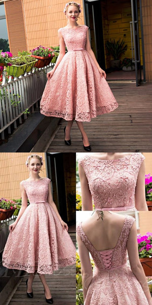 A-Line Boat Neck Tea-Length Pink Lace Homecoming Dress with Beading  S230