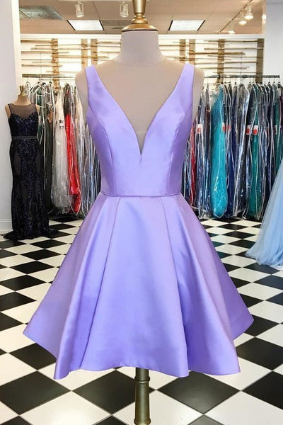 Cute Lavender V-Neck Homecoming Dress,Sleeveless Straps Party Dress  S22