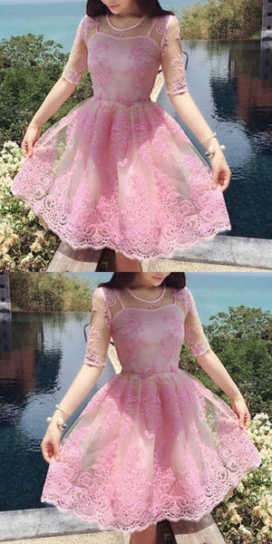 Cute Homecoming Dress A-line Scoop Appliques Half Sleeve Short Prom Dress Party Dress  S231