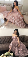 Princess A-Line Sweetheart Blush Homecoming Dress with Lace Appliques S236