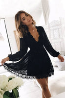 A-Line V-Neck Long Sleeves Little Black Lace Homecoming Dress Party Dress S237