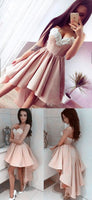 Simple Lace Prom Dress,Satin Prom Dress,Short Party Dress,High Low Evening Dress S239