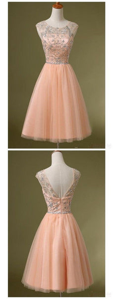 Peach Tulle Beaded Short Cute homecoming prom dresses  S241