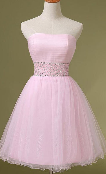 Short Pink Tulle Homecoming Dresses Beaded Women Party Dresses  S244