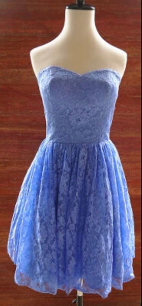 Elegant Lace Knee Length Homecoming Dress, Lace Party Dresses, Lace Prom Dresss S245