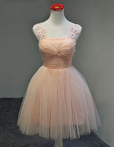 Floral Homecoming Dress,Tulle Homecoming Dresses,Short Prom Dress  S24