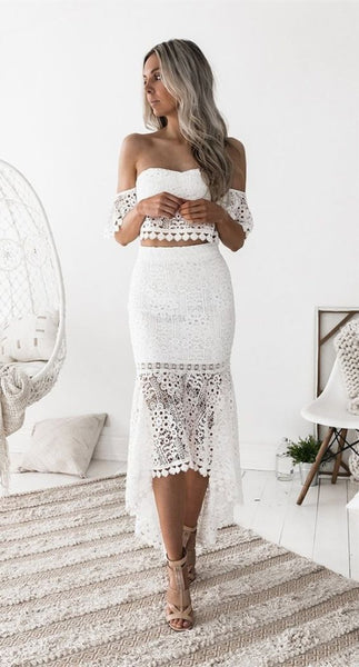 Two Piece Sweetheart Short Sleeves White Lace Homecoming Prom Dress S251