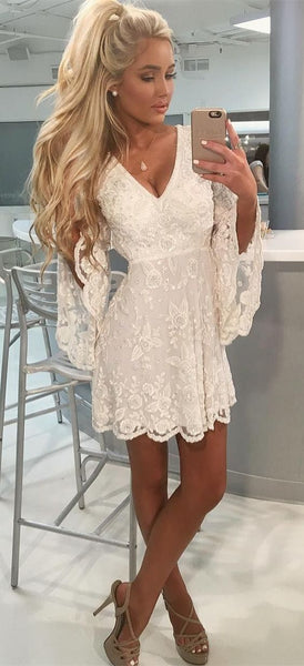 A-Line V-Neck  Bell Sleeves Short White Lace Homecoming Dress with Beading S254