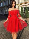 A-Line Off-Shoulder 3/4 Sleeves Red Short Cheap Homecoming Party Dresses S256
