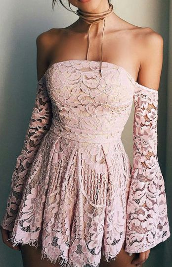 Sweet Pink Lace Off The Shoulder Homecoming Dress,Long Sleeves Mini Homecoming Graduation Dress,Strapless Short Prom Dress, Homecoming Dress S255