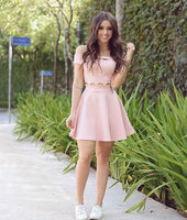 Two Piece Pink Short   Homecoming  Dresses    S258