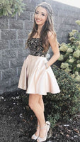 Champagne sweetheart beads short prom dress, champagne homecoming dress   S259