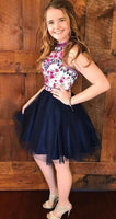 Cute Dark Navy Blue Floral Short Homecoming Dress   S260