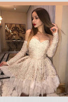 Customized Fine Champagne Party Dresses, A-Line Homecoming Dresses, Long Sleeves Party Dresses, Lace Homecoming Dresses S265