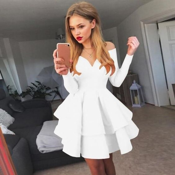 Fashion Women Summer Dress Cute Off Shoulder Long Sleeve  Homecoming Dress   S267