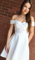 Off the Shoulder Short White  Homecoming Dress with Pockets  S272