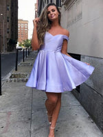 Off the Shoulder  Homecoming Dresses Cheap Simple Homecoming Dress    S280