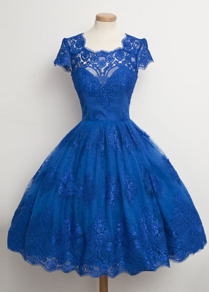 Ball Gown Square Knee-Length Royal Blue Lace Homecoming Dress   S285