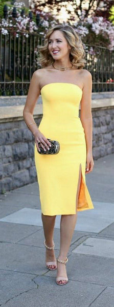 Yellow Satin  Homecoming Dress With Slit    S290