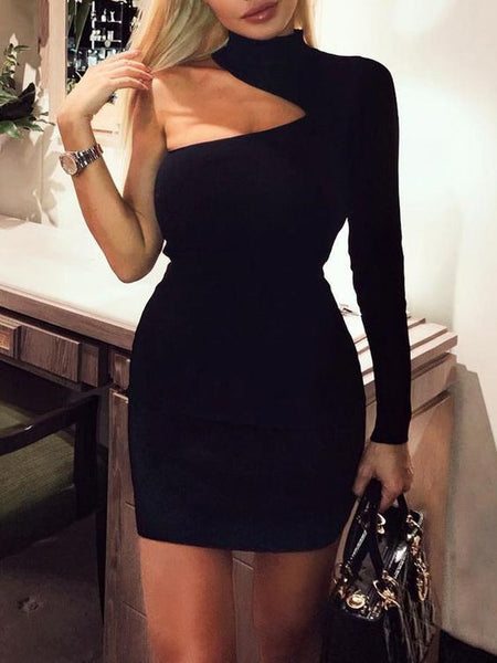 Cut Out Shoulder One Sleeve Party Dress  ,Short Homecoming Dress S291